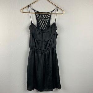 Black Satiny Sundress w/ Woven Back  + Ruffle